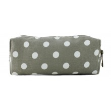 PC - Miss Lulu Canvas Pencil Case Polka Dot Grey